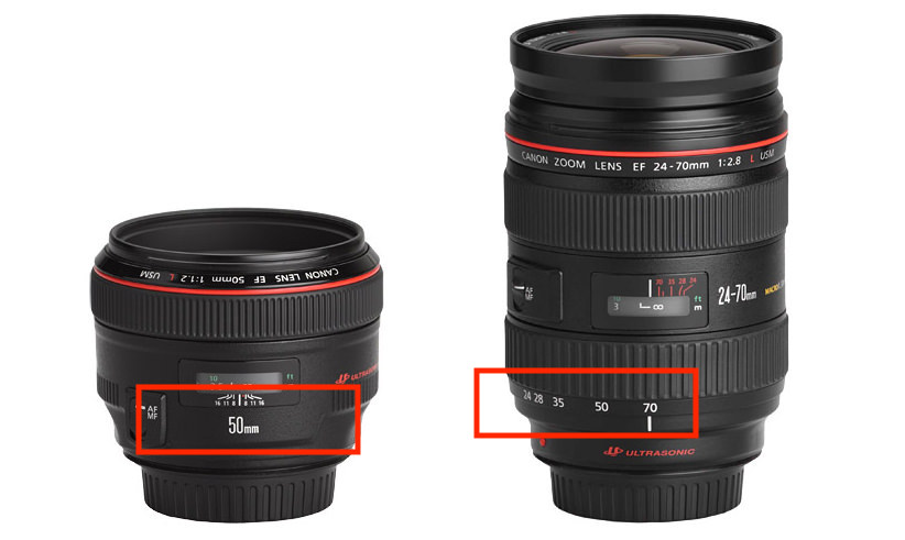 Photo from PhotographyLife.com of a fixed lens and a variable (zoom) lens.