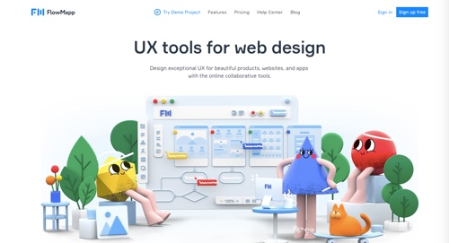Home page of FlowMapp