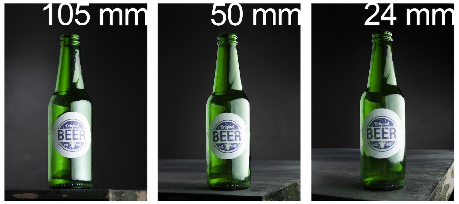 Photo from Freepik.com showing a beer bottle at 105mm, 50mm, and 24mm.