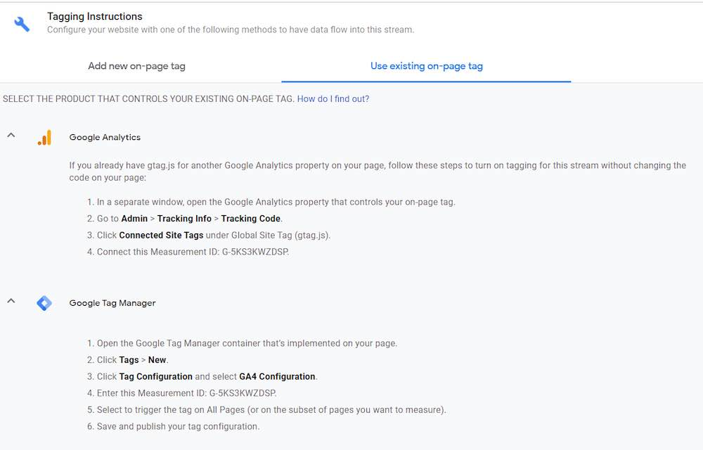 Screenshot of a Google Analytics 4 page.