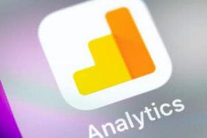 Image of a Google Analytics logo on a smartphone screen