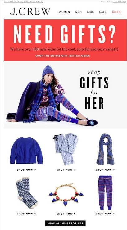 """Screenshot of an email gift guide from J.Crew — """"shop Gifts for Her."""""""