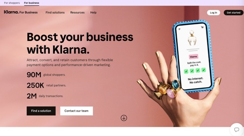 Home page of Klarna