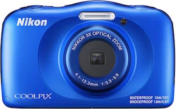 Photo from Amazon of a blue Nikon Coolpix camera