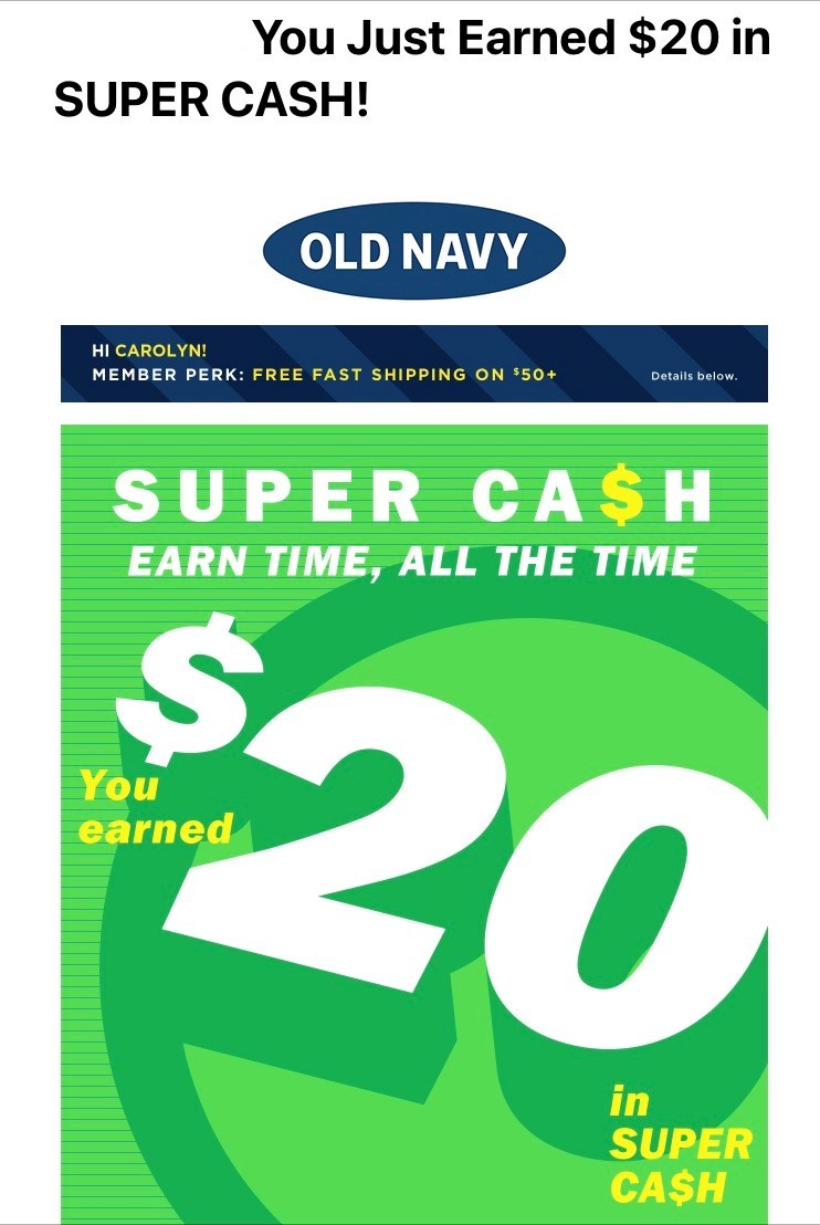 Screenshot of a Old Navy email with a $20 loyalty club reward.