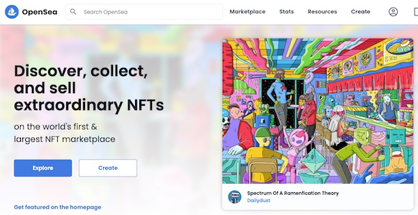 Screenshot from OpenSea.io of a NFT for sale.