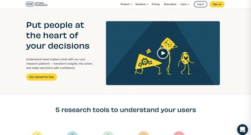 Home page of Optimal Workshop