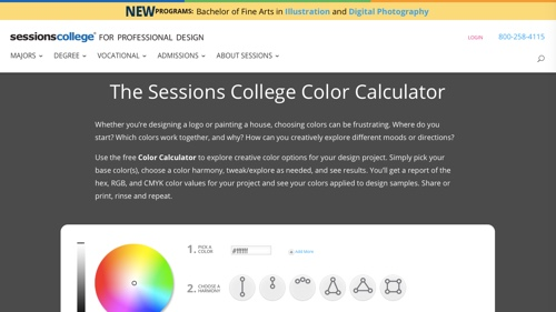 Home page of Sessions College Color Calculator
