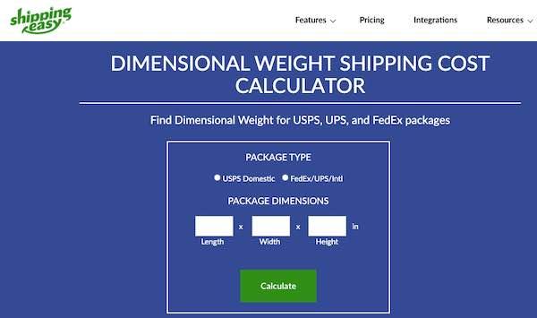 Screenshot of ShippingEasy's DIM weight calculator page