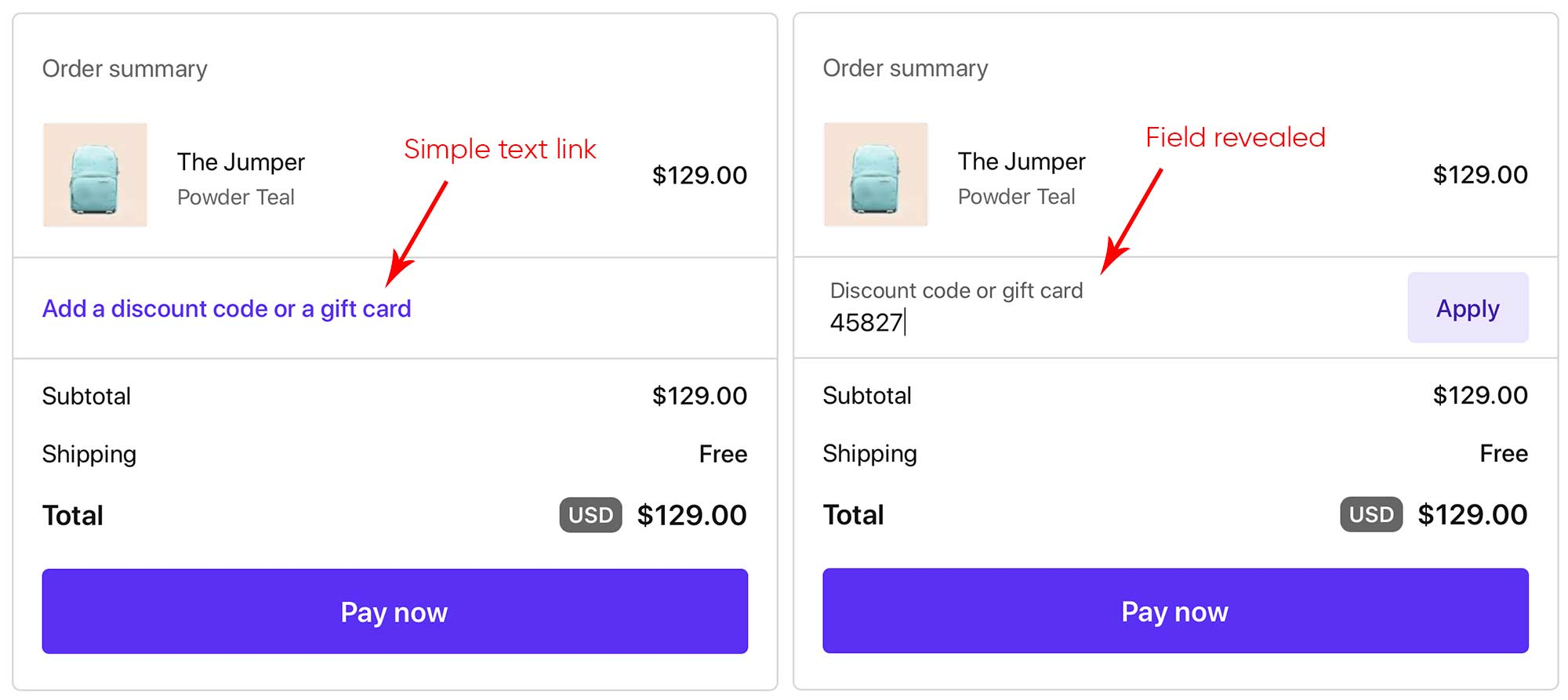 Brevite checkout page with a text link for gift cards