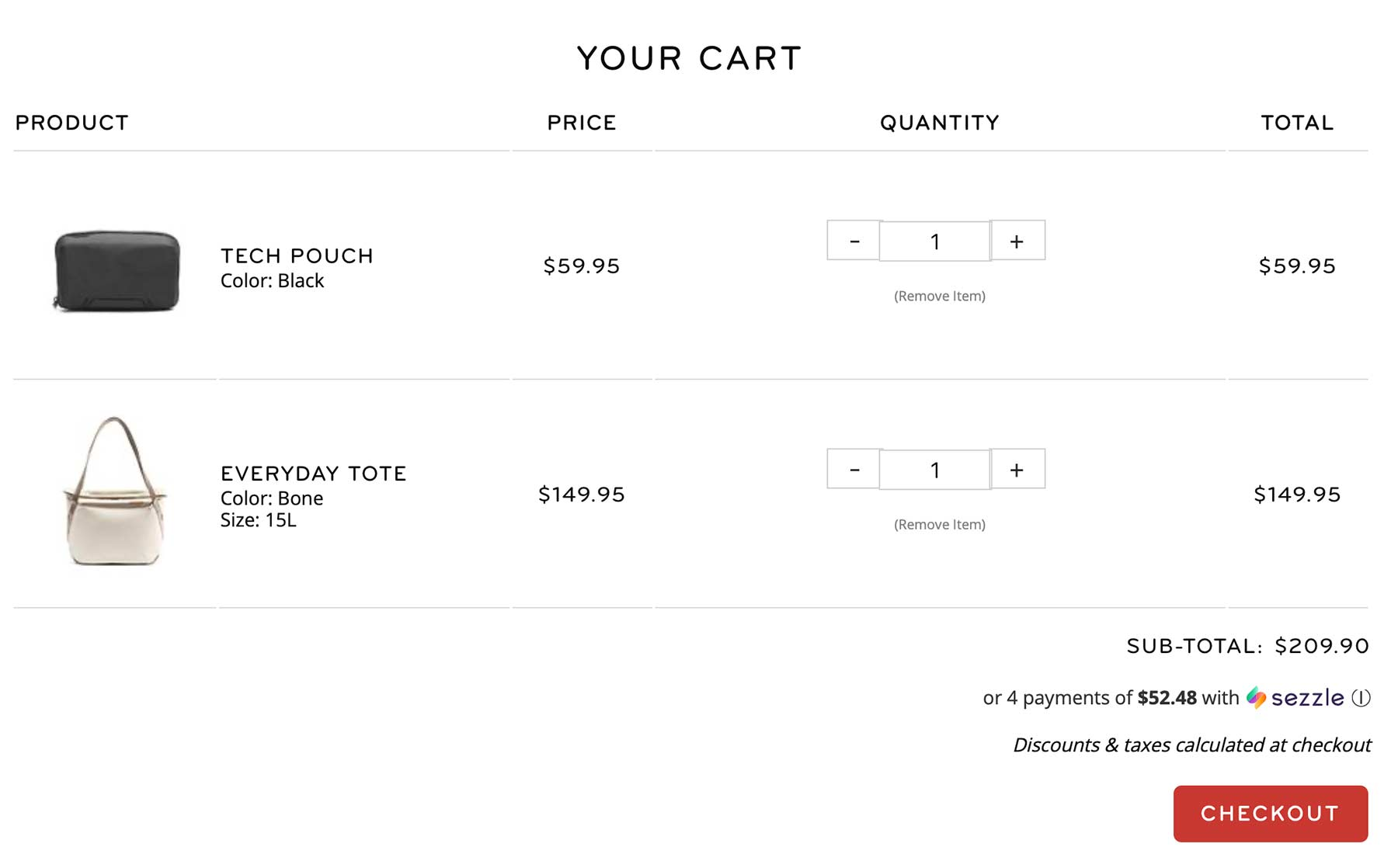 Shopping cart page displaying product photos and details