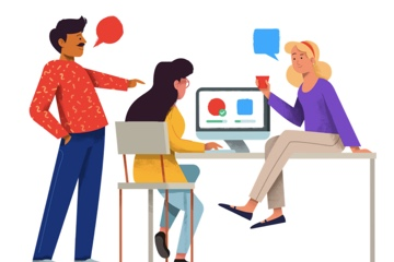 Drawing of people around a computer from Usability Hub's home page