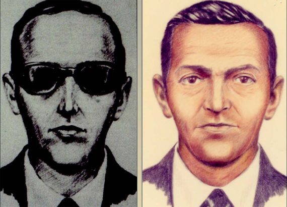 Photo of two drawings of what D.B. Cooper may have looked like