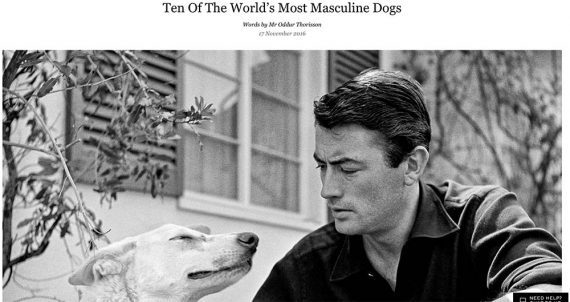 Image from the Mr Porter article showing a male and a dog