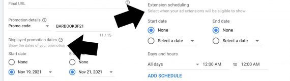 Screenshot from Google Ads interface showing two sets of extension dates