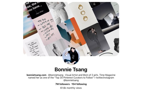 Screen capture of the Bonnie Tsang Pinterest page