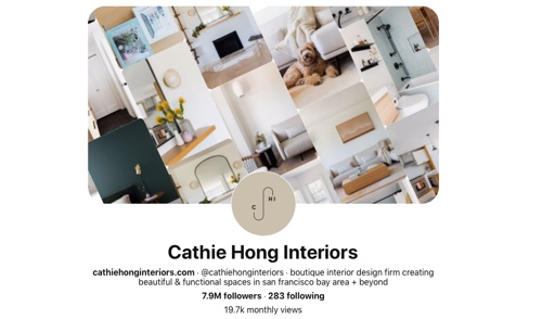Screen capture of the Cathie Hong Interiors Pinterest page