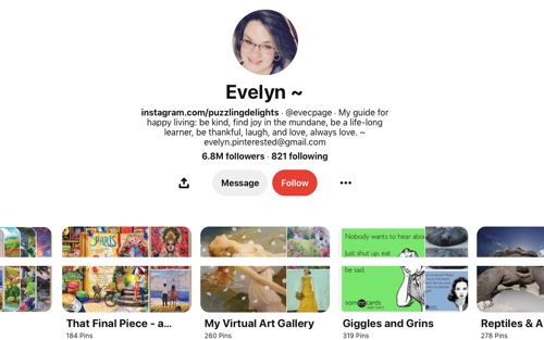 Screen capture of the Evelyn Pinterest page