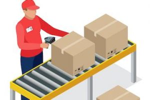 Illustration of a male standing at a fulfillment station with a box