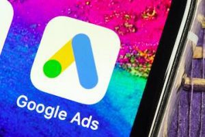 Image of an iPhone with a Google Ads icon on the screen