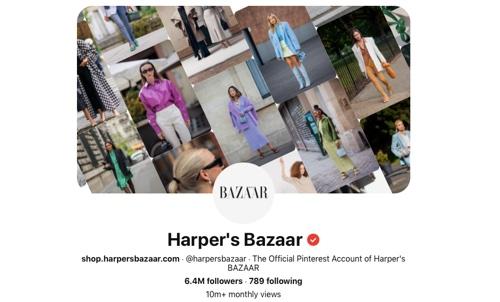 Screen capture of the Harper's Bazaar Pinterest page