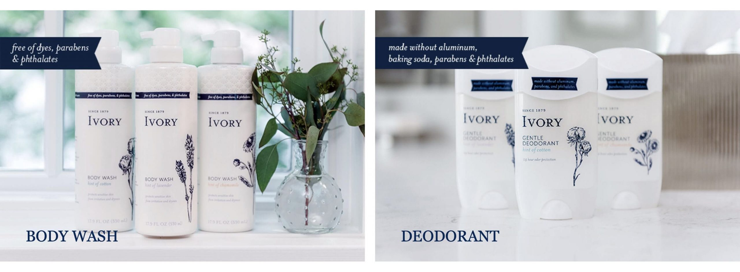 Image from Ivory.com showing two images: (a) three bottles of body wash and (b) three deodorant sticks.