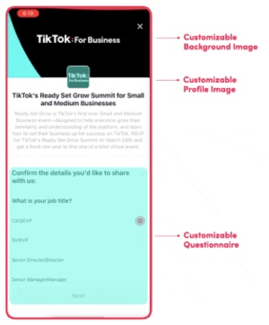 """Screen capture of mobile """"TikTok for Business"""" page"""