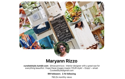 Screen capture of the Maryann Rizzo Pinterest page