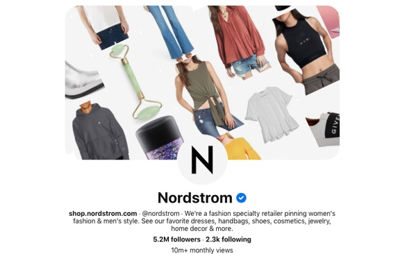 Screen capture of the Nordstrom Pinterest page