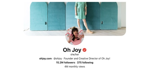 Screen capture of the Oh Joy Pinterest page