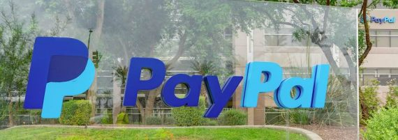Image of a PayPal exterior sign in front of one of its office buildings