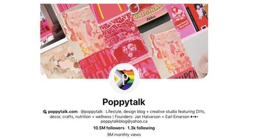 Screen capture of the Poppytalk Pinterest page