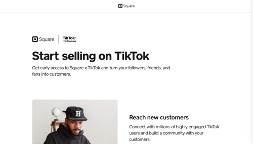 """Screenshot a of Square page, reading """"Start selling on TikTok"""""""