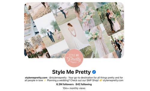 Screen capture of the Style Me Pretty Pinterest page
