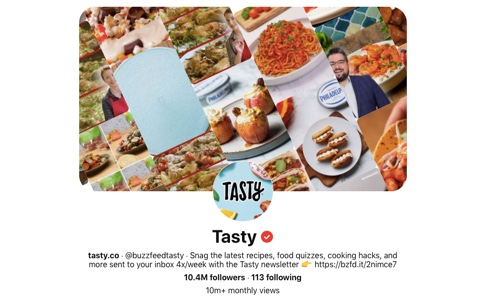 Screen capture of the Tasty Pinterest page