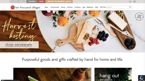 Home page of Ten Thousand Villages