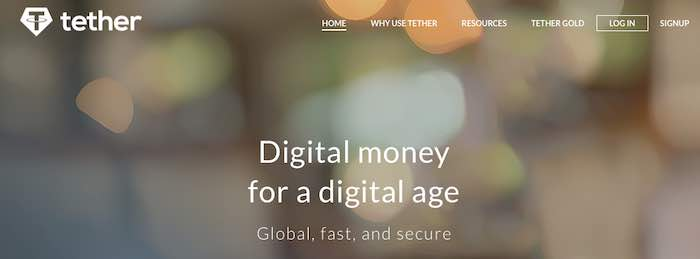 Screenshot of Tether's home page