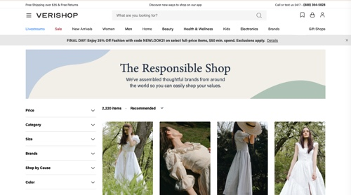 Home page of The Responsible Shop - Verishop