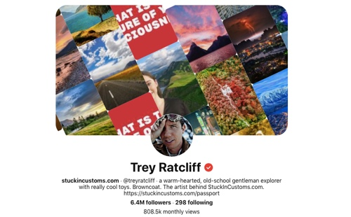 Screen capture of the Trey Ratcliff Pinterest page