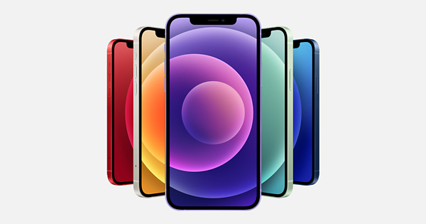 This image from Apple features five iPhones at different angles, distrances, and colors.