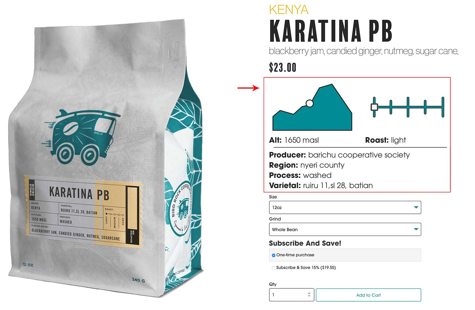 Bird Rock Coffee Product Page - featuring a chart for altitude and roast level