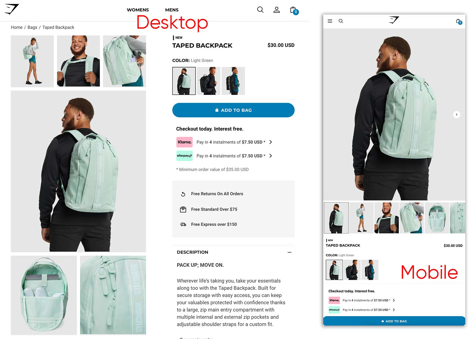 Gymshark backpack product page, showing several product use images in a grid