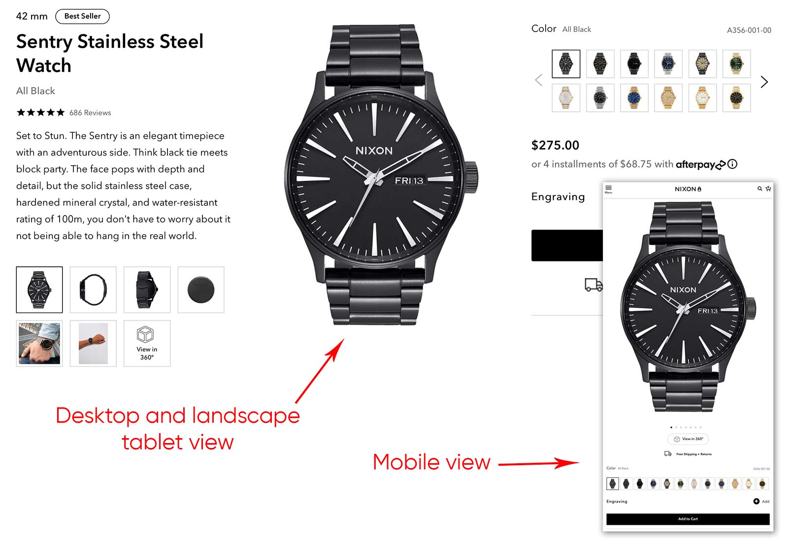 Nixon watch product page, featuring a large image of a stylish watch