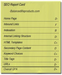 SEO report card for Balancedlifeproducts.com