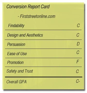 Conversion report card for FirstStreet