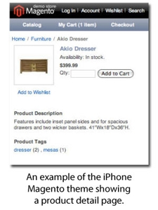 An example of Magento's iPhone theme for a product detail page.
