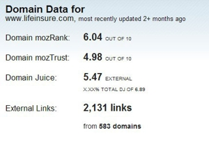 Linkscape Example two, shows mozRank