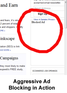 Screen capture showing a blocked ad