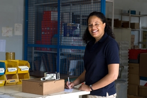 Shipping Clerk Prepares a Package