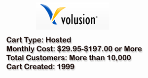 Volusion is a hosted shopping cart that costs $29.95 to $197.00 or more each month.